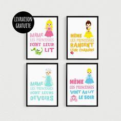 PROMO: Lot de 4 Posters 21x30cm citations Princesse - poster pour enfant pour cadres décoration chambre