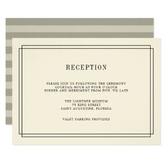 Timeless Ecru Reception Card