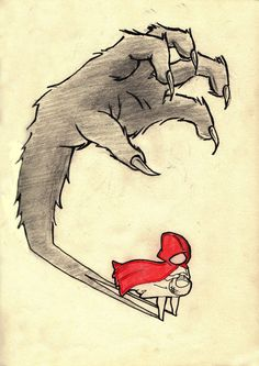 Red Riding Hood by ~TBagr on deviantART  (symbolically narrative, the wolf stalks her from her own shadows, implying she cannot ever escape)