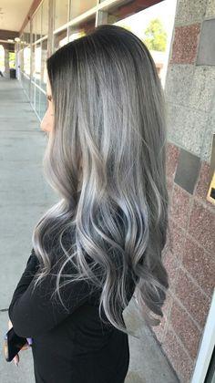 silver, smudge root, long hair, grey hair, metallic silver, icy balayage.