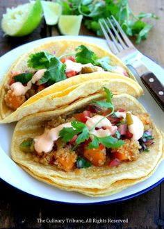 Butternut Squash and Quinoa Tacos with Spicy Lime Mayo
