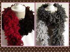 Olala Knitting  Ruffle Scarf Red Black White by MinnieCreation, €19.24