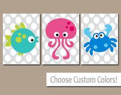 Ocean Sea Animals BATHROOM Wall Art, CANVAS or Prints Child Nautical Bathroom Boy Girl Bathroom Fish Octopus Crab Set of 3 Kid BATHROOM
