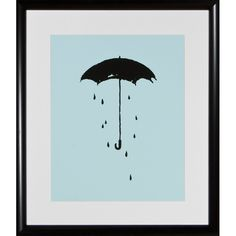 Umbrella Silhouette Framed Print
