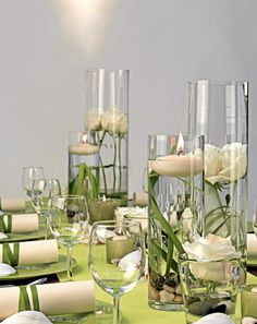 - Lindgrün und Creme - lime green and cream - decoration An outdoor wedding on the water would be ju Wedding Centerpieces, Wedding Decorations, Deco Champetre, Beautiful Table Settings, Deco Floral, Vase Fillers, Centre Pieces, Decoration Table, Flower Decorations