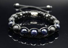 Men's Blue Sandstone Bracelet Beaded Bracelet Shamballa