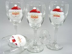 Set of 4 Santa Claus Face Hand Painted Wine by astrokeofjeanneius