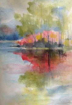 Red Reflection Watercolor on Notecard Robin Miller-Bookhout