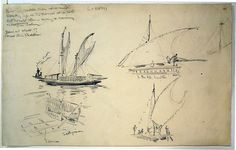 Drawing; four sketches depicting a lakatoi (an outrigger canoe with a sail), the canoe being sailed by men on board, and a detail sketch of the canoes construction. 1921-1924.  Graphite.