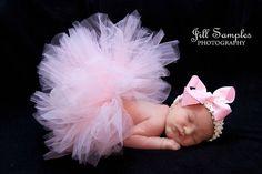 Baby Pink Tutu and Headband Set Newborn Tutu by LittleLeahTutus, $28.00