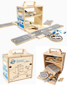 This week's fab find is the Diggin Airplane BoxSet. This has gone straight to the TOP of the Santa list. I first saw this on the MoMA store Cardboard Toys, Cardboard Playhouse, Cardboard Furniture, Carved Wooden Animals, Woodworking For Kids, Woodworking Shop, Cleaning Wood, Best Kids Toys, Montessori Toys