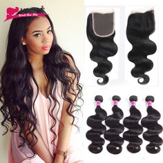 Brazilian Body Wave With Closure 4 Bundles With Closure 8A Brazilian Virgin Hair with Closure Human Hair Bundles with Closure //Price: $156.48 & FREE Shipping //     #hairextension #style #beauty #woman #love