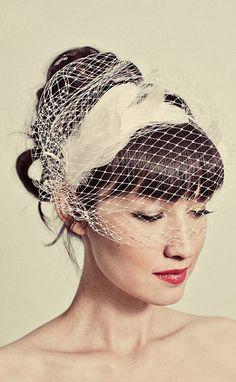 Feather headband with birdcage veil overlay