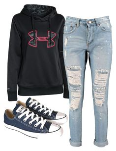 """""""under armour hoodie jeans converse"""" by melissa-boucher-i on Polyvore featuring Under Armour, Boohoo and Converse"""