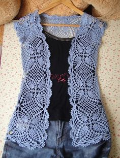 Blue Pineapple Motif Vest free crochet graph pattern