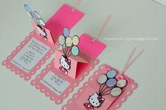 Hello Kitty Slide Up / Slider Card Balloon Birthday Invitations