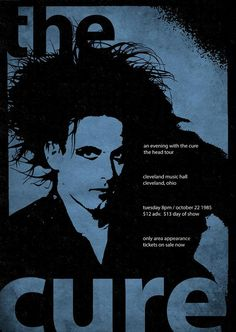 An original drawing recreates a re-designed, re-imagined concert poster - styled to look vintage and printed to order on best quality paper.Size x Available in other sizes on request. The Cure Concert, Mundo Musical, Wall Posters, Robert Smith, Music Wall, Look Vintage, Post Punk, Room Art, Concert Posters