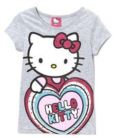 This Gray Glitter 'Hello Kitty' Tee - Girls is perfect! #zulilyfinds