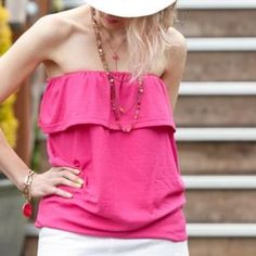 With this simple DIY tutorial you can turn a t shirt into a ruffled tube top with minimal sewing in less than 1 hour.