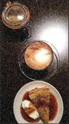Latte · warm chestnut & whiskey cake with salt caramel