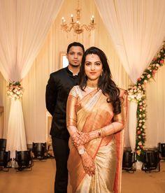 South Indian Wedding Saree, Indian Wedding Gowns, Indian Bridal Sarees, Indian Bridal Outfits, Indian Bridal Fashion, Saree Wedding, Bridal Dresses, Reception Sarees, Christian Bridal Saree