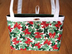 Medium Tote Bag CHRISTMAS Holly Mistletoe Green Gold Leaves Red Berries Plaid Bows COTTON Duck Cloth REVERSIBLE with Pocket Holiday Seasonal ~ Available on www.MaliakeiBags.com