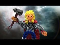 THOR Action Figure on the Rainbow Loom. Designed and loomed by PG's Loomacy. Click photo for tutorial.