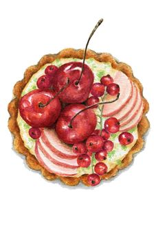 Original Painting  Cherry and Apple Tart