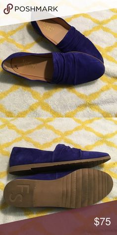 Franco Sarto shoes These bright blue loafers add a cute pop of color to any outfit while keeping your feet cozy. Blue suede leather shoes by Franco Sarto in size 7 1/2. Franco Sarto Shoes Flats & Loafers