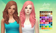 Aveira's Sims 4, Wildspit's Angelic Hair V2 - Recolor 70 Colors ...