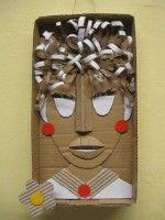 Plastický obraz hlavy - z kartonu a vlnité lepenky :: M o j e v ý t v a r k a