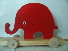 Red Ellie Wood Pull Toy, absolutely adorable!