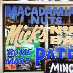 Micks Nuts window signage - West End.
