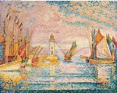 """Paul Signac """"Light House at Groix"""". Another one in the unique brushstroke style. This is also at the NY Metropolitan Museum of Art"""