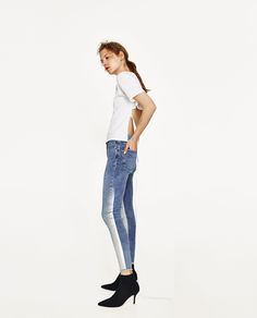 MID RISE SILVER-TONED JEANS
