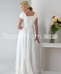Elegant Sheath Ruffles Square Neckline Short Sleeves Floor-Length Event/Evening Dresses