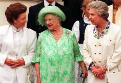 1993: The Queen Mother, stands between her two daughters, Queen Elizabeth II and Princess Margaret while celebrating her 93rd birthday at Clarence House in London. 1993 was also the year Buckingham Palace was opened to the public for the first time.