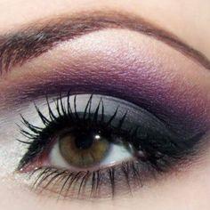 Purple gray smokey hair-makeup. Perfect with my gray hair and green eyes.