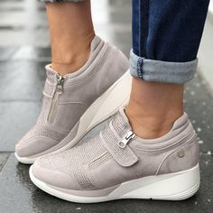 Women's Casual Sneakers New Flock High Heel Leisure Platform Breathable Shoes. Great Wedges With Comfort And Style. Moda Sneakers, Sneakers Mode, Wedge Sneakers, Sneakers Fashion, Shoes Sneakers, Suede Shoes, Summer Sneakers, Women's Shoes, Slide On Sneakers