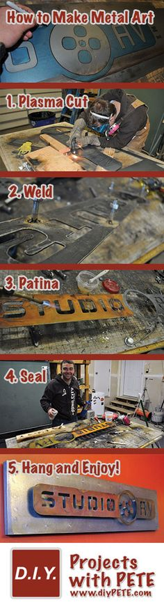 How to make metal art - Metal Project Idea that uses basic welding, plasma cutting, and patinaing #welding #diy #art