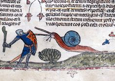 Snail vs. Knight, from The Smithsfield Decretals, decretals of Gregory IX, Tolouse, c. 1300. Illuminations were added about forty years later in London