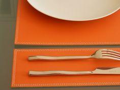 Set de table Duo cuir orange