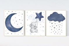 Nursery decor elephant navy nursery decor cloud and stars moon and stars navy blue nursery art. Elephant Nursery Decor, Nursery Canvas, Star Nursery, Nursery Room, Baby Canvas, Floral Nursery, Elephant Art, Boy Room, Baby Room Paintings