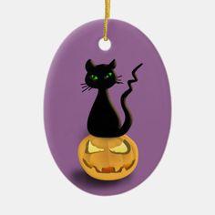 Shop Cat on Pumpkin Halloween Hanging Ornament created by bigspl. Olaf Halloween Costume, Halloween Ornaments, Halloween Home Decor, Halloween House, Halloween Pumpkins, Happy Halloween, Christmas Ornaments, Halloween Ideas, Fairy Makeup