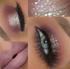 Soft pink glitter makeup