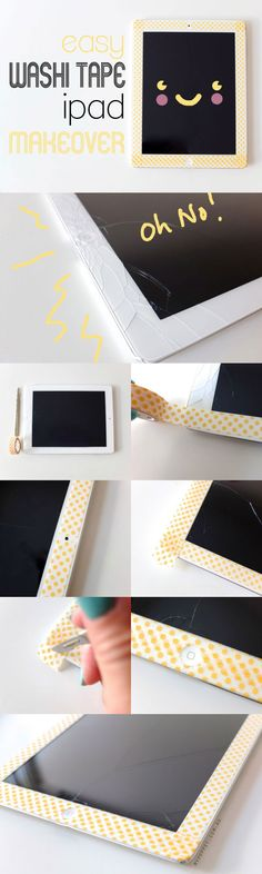 This quick and easy iPad Makeover can transform the look of your tablet (and cover up a few disasters), when you change your mind or the tape looks a little shabby, just change it over for a whole new look.