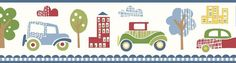 Brewster Wallpaper TOT46341B Gatsby Red City Scape Trail Border