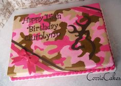 Obviously not pink.Browning deer/pink camo - sheet iced in BC (Dillicious cakes on FB has a buttercream camo tutorial in her phot albums) MMF decorations Pink Camo Birthday, Camo Birthday Cakes, Birthday Ideas, 13th Birthday, Cupcakes, Cupcake Cakes, Pink Camo Cakes, Beautiful Cakes, Amazing Cakes