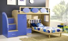 Rocking Awesome Boy and Girl Bedrooms Inspiration : Double Loft Beds For Boys And Girls Bedroom Design Ideas Boys Loft Beds, Double Loft Beds, Loft Bunk Beds, Kid Beds, Double Deck, Modern Room Design, Girls Room Design, Boy And Girl Shared Room, Bunk Bed Designs