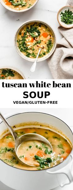 This Tuscan white bean soup is a healthy vegetarian and vegan friendly recipe th. - This Tuscan white bean soup is a healthy vegetarian and vegan friendly recipe that is simple to mak - Healthy Family Meals, Easy Dinner Recipes, Healthy Dinner Recipes, Whole Food Recipes, Easy Meals, Detox Recipes, Family Recipes, Healthy Soup Vegetarian, Vegan Detox Soup